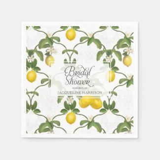 Bridal Shower Lemon Espalier Trellis Citrus Floral Paper Napkins