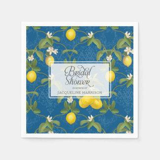 Bridal Shower Lemon Royal Blue White Citrus Floral Paper Serviettes