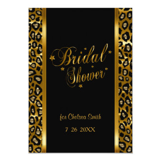 Bridal Shower - Leopard Print With Gold Lettering 13 Cm X 18 Cm Invitation Card