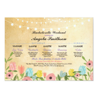Bridal Shower Lights Floral Itinerary Vintage Card