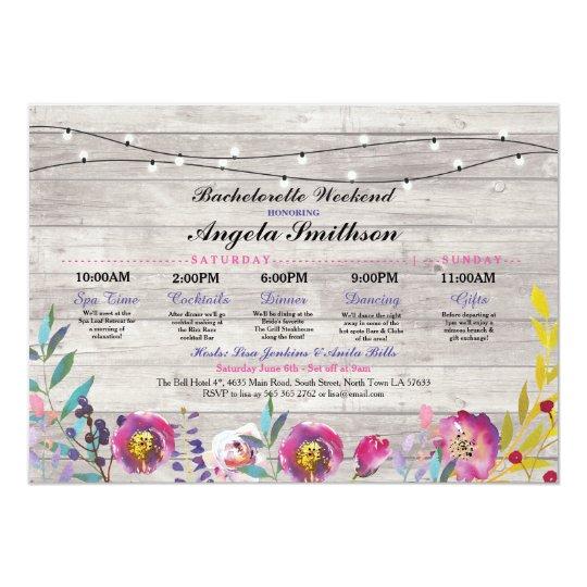 Bridal Shower Lights Floral Itinerary Wood Vintage Card