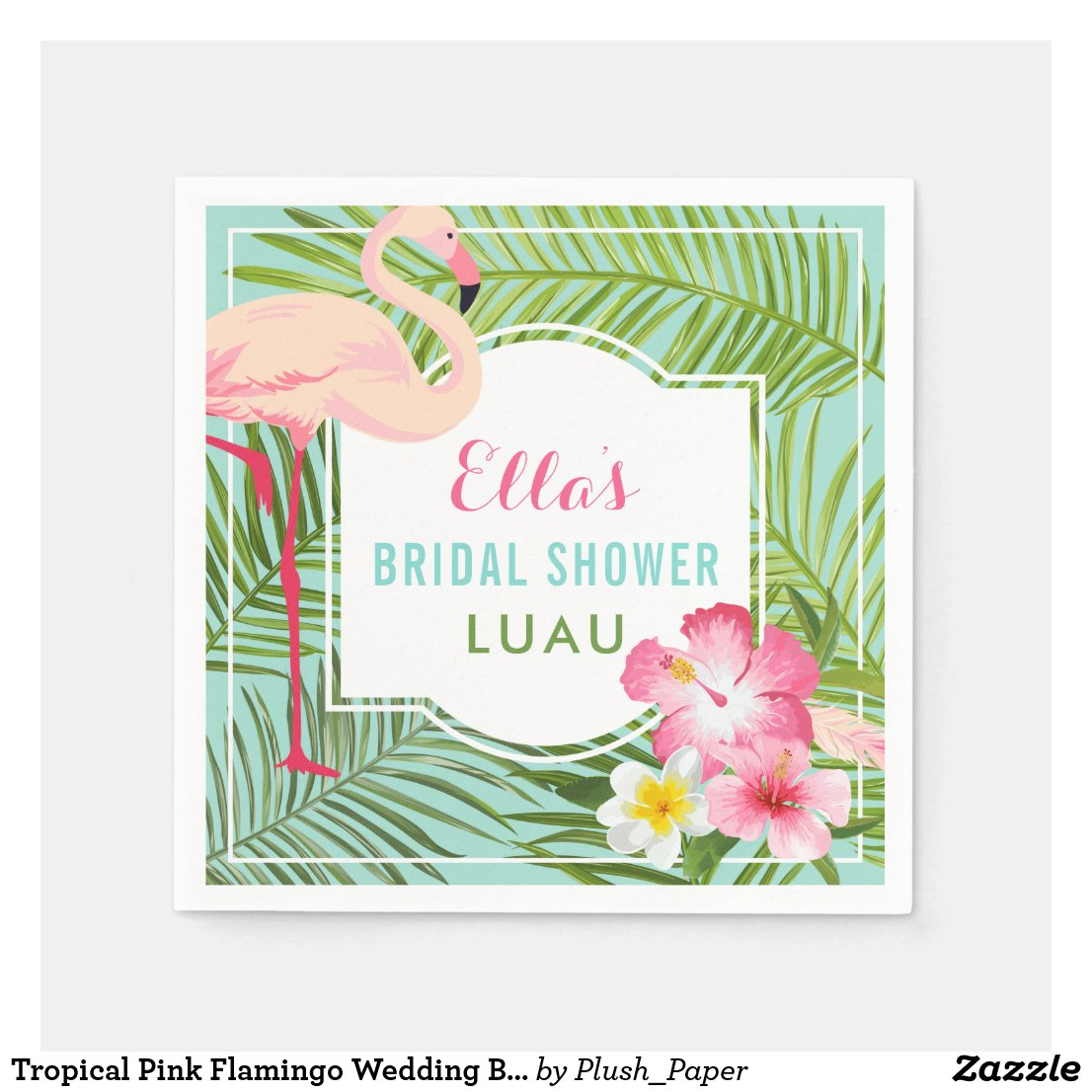 Bridal Shower Luau | Tropical Flamingo Disposable Napkin