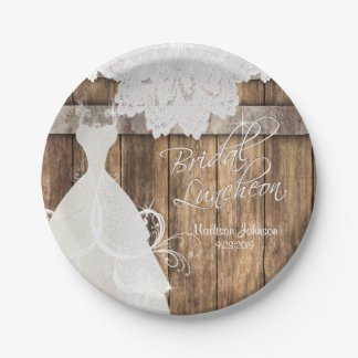 Bridal Shower Luncheon - Rustic Wood and Lace Paper Plate