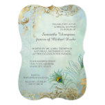 Bridal Shower Luxe Gold Peacock Feathers Elegant 13 Cm X 18 Cm Invitation Card