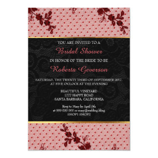 Bridal Shower Luxury Gold Black Pink Lace Floral Card