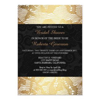 Bridal Shower Luxury Gold Black Royal Lace Floral Card