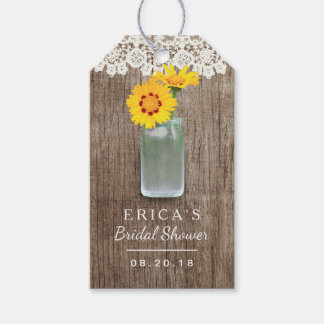 Bridal Shower Mason Jar Daisy Flowers Laced Wood Gift Tags