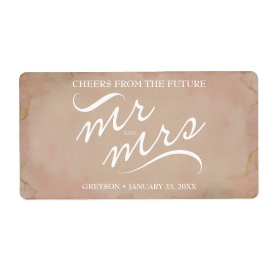 Bridal Shower Mini Champagne Label Pink Shipping Label