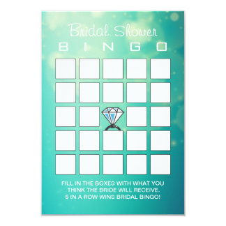 Bridal Shower Modern Diamond Ring Bingo Cards