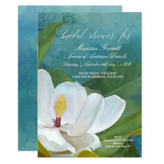 Bridal Shower Modern Elegant Magnolia Floral Art Card