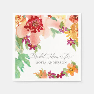 Bridal Shower Modern Watercolor Fall Autumn Art Disposable Napkins