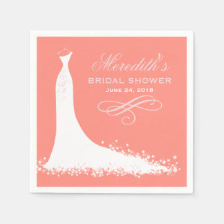 Bridal Shower Napkins   Elegant Wedding Gown Paper Napkin