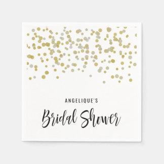 Bridal Shower Napkins Faux Gold Confetti Custom Disposable Serviettes