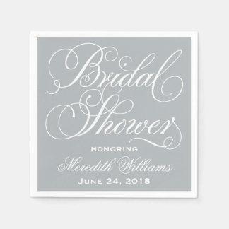 Bridal Shower Napkins | Gray and White Disposable Napkin
