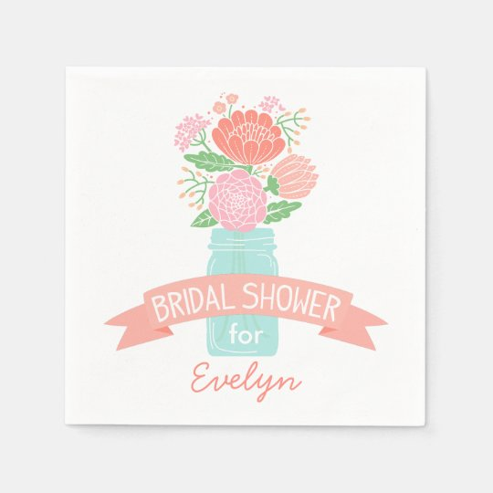 Bridal Shower Napkins | Mason Jar Bouquet Disposable Serviette