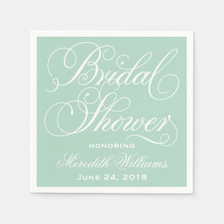 Bridal Shower Napkins | Mint Green Paper Napkins