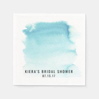 Bridal Shower Napkins Watercolor Blue Custom Paper Napkins