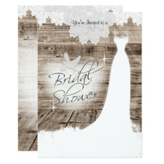 Bridal Shower on Barn Wood with Lace & White Dove 13 Cm X 18 Cm Invitation Card