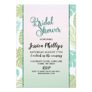 Bridal Shower Palm Leaves Tropical Pink Invitation