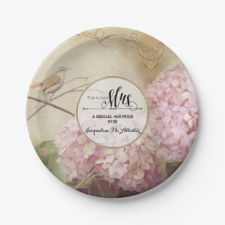 Bridal Shower Paper Party Decor Pink Hydrangea Art 7 Inch Paper Plate