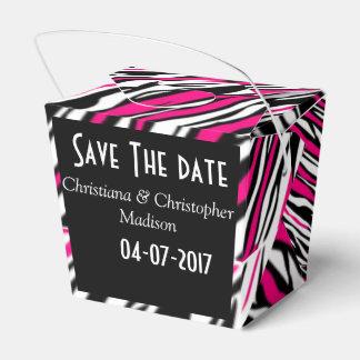Bridal shower party favors pink zebra stripes box favour boxes