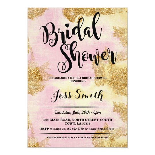 Bridal Shower Party Pink Glitter Gold Foil Invite