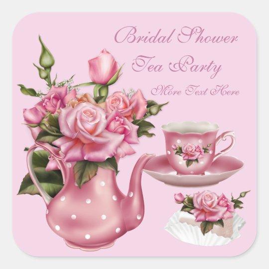 Bridal Shower Party Pink Rose Floral Teapot 5