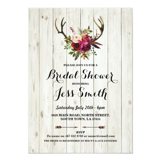 Bridal Shower Party Rustic Antler Floral Invite