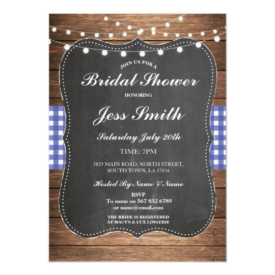 Bridal Shower Party Rustic Chalk Blue Wood Invite