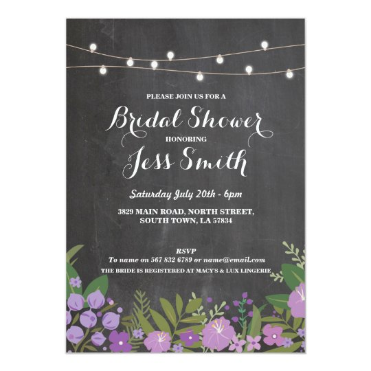 Bridal Shower Party Rustic Chalk Floral Invite