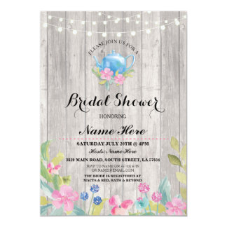 Bridal Shower Party Rustic Teapot Floral Invite
