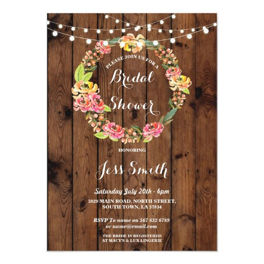 Bridal Shower Party Rustic WreathFlowers Invite