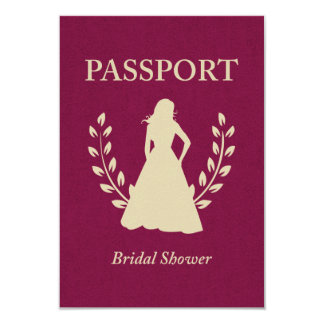 Bridal Shower Passport 9 Cm X 13 Cm Invitation Card