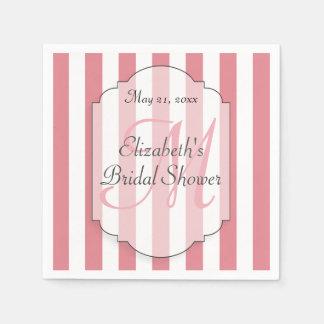 Bridal Shower Personalized Monogram Pink Disposable Serviette