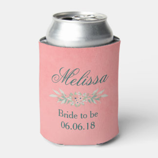 Bridal Shower Pink and Green Floral Can Cooler