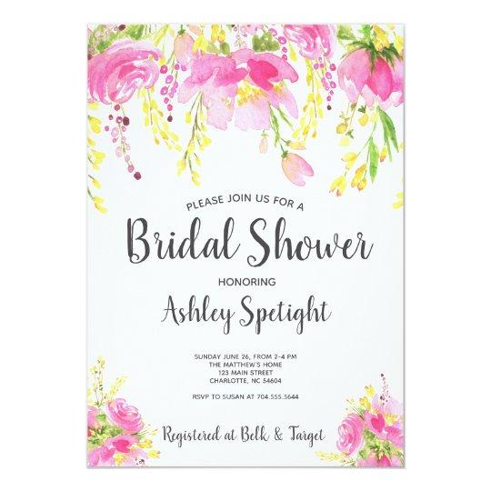 Bridal Shower pink blush Floral Invitation