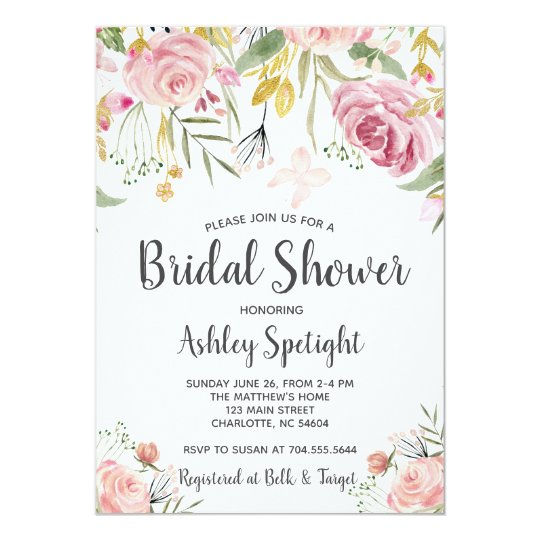 Bridal Shower pink blush Floral Invitation