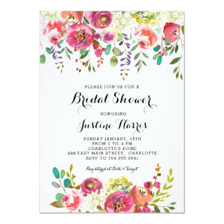 Bridal Shower, pink flowers Card
