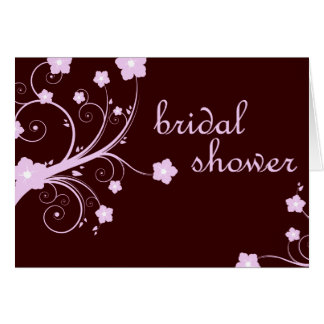 bridal shower : Pink Flowers : Greeting Card