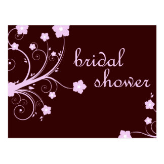 bridal shower : Pink Flowers : Postcard