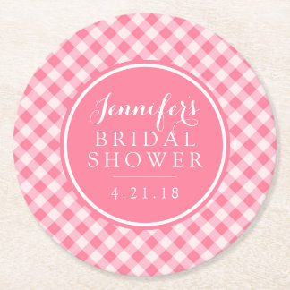 Bridal Shower | Pink Gingham Round Paper Coaster