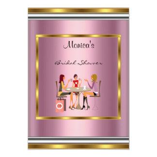 Bridal Shower Pink gold Frame Invitation Pink