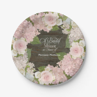 Bridal Shower Pink Hydrangea Roses Dark Wood Barn Paper Plate