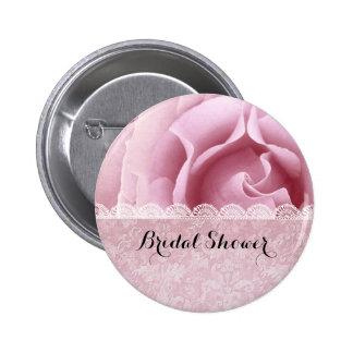 BRIDAL SHOWER Pink Rose Lace Grunge Damask A07 6 Cm Round Badge