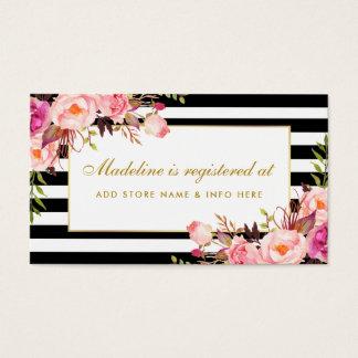 Bridal Shower Pink Striped Registry Insert Card