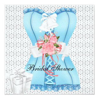 Bridal Shower Pink Teal White Corset Roses Flower 13 Cm X 13 Cm Square Invitation Card