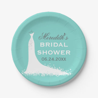 Bridal Shower Plates | Elegant Wedding Gown 7 Inch Paper Plate