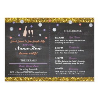 Bridal Shower Purple Chalk Itinerary Bachelorette Card
