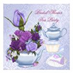 Bridal Shower Purple Floral Tea Party Custom Announcement
