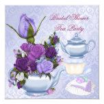 Bridal Shower Purple Floral Tea Party 13 Cm X 13 Cm Square Invitation Card
